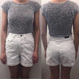 Vintage Escada Silver Woven Short Sleeved Shirt